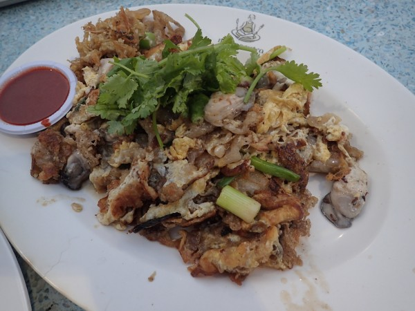 This is an egg scramble with oysters, a popular street food item here.